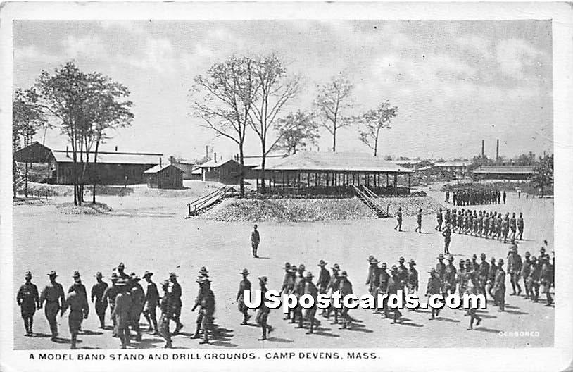A Model Band Stand & Drill Grounds - Camp Devens, Massachusetts MA Postcard
