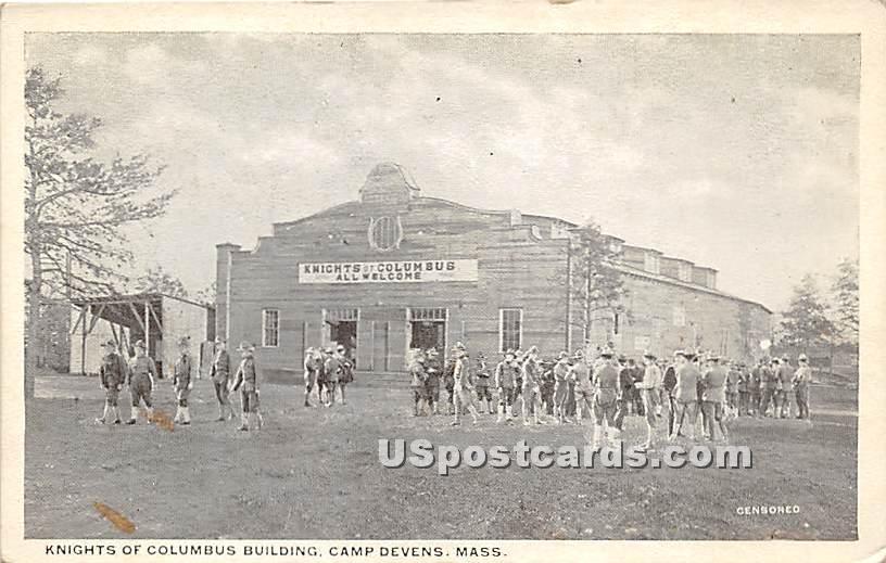 Knights of Columbus Building - Camp Devens, Massachusetts MA Postcard