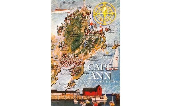 Map of Cape Ann Massachusetts Postcard