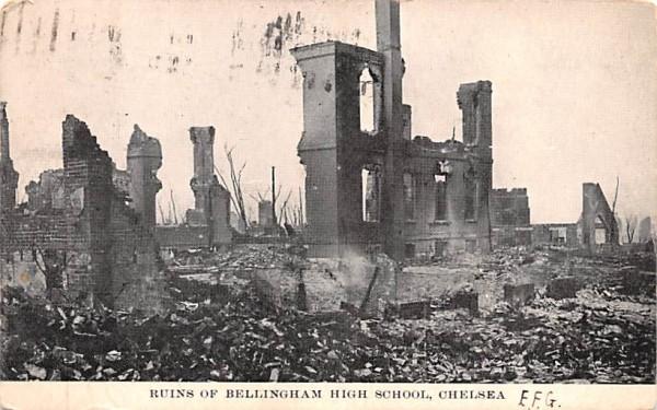 Ruins of Bellingham High School Chelsea, Massachusetts Postcard