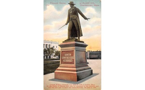 Prescott Statue  Charlestown, Massachusetts Postcard