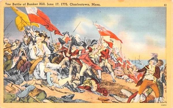 The Battle of Bunker Hill Charlestown, Massachusetts Postcard
