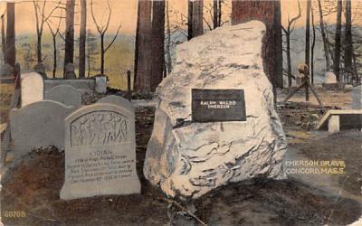 Emerson Grave Concord, Massachusetts Postcard
