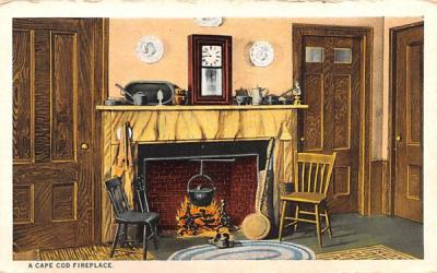 A Cape Cod Fireplace Massachusetts Postcard