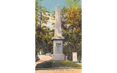 The Old North Bridge & Monument Concord, Massachusetts Postcard