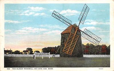 The Oldest Windmill on Cape Cod Massachusetts Postcard