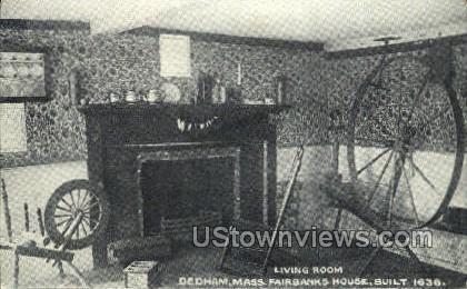 Living Room, Fairbanks House - Dedham, Massachusetts MA Postcard