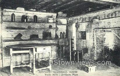 Kitchen, Fairbanks House - Dedham, Massachusetts MA Postcard