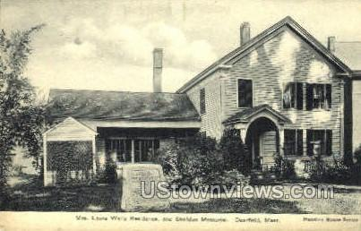 Mrs. Laura Wells Residence - Deerfield, Massachusetts MA Postcard