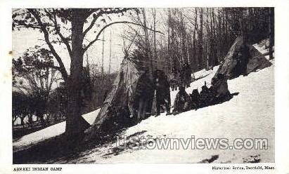 Real Photo -Abnaki Indian Camp - Deerfield, Massachusetts MA Postcard
