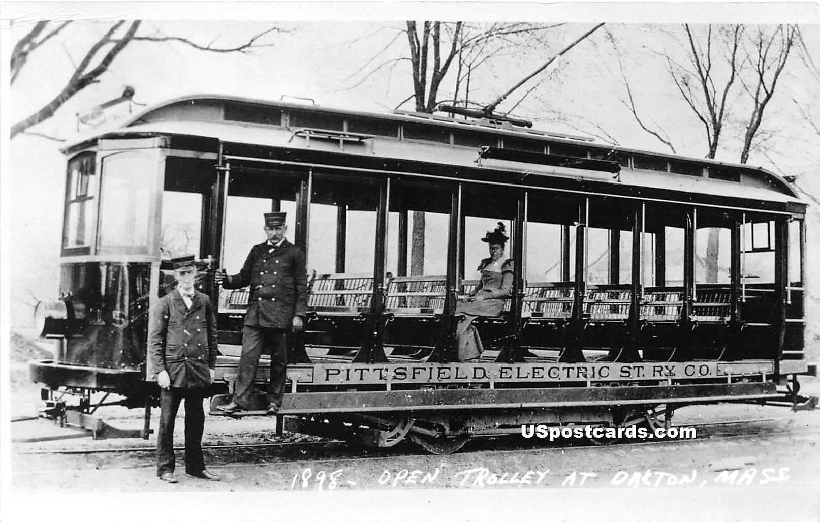 1898 Open Trolley - Dalton, Massachusetts MA Postcard
