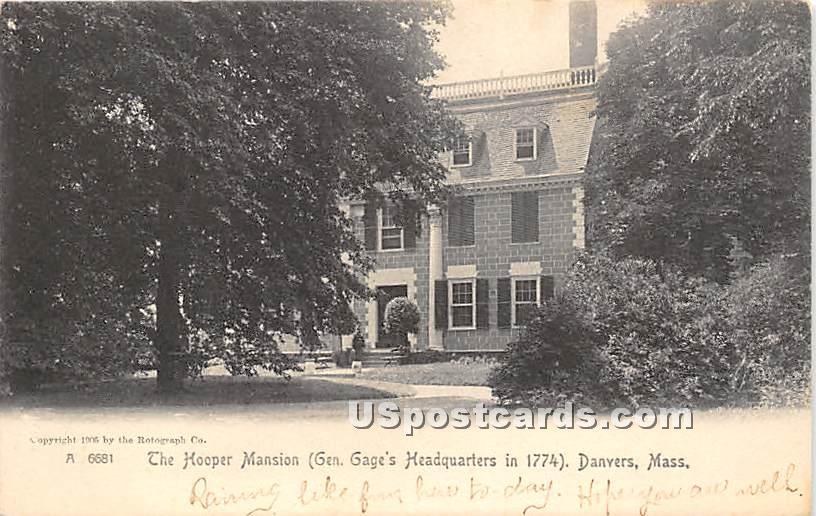 The Hooper Mansion, Gen Gage's Headquarters in 1774 - Danvers, Massachusetts MA Postcard