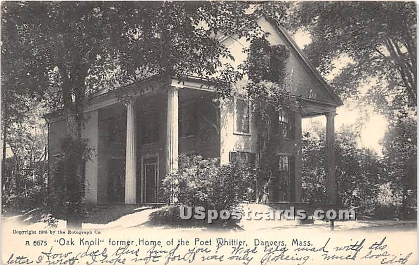 Oak Knoll former Home of the Poet Whittier - Danvers, Massachusetts MA Postcard