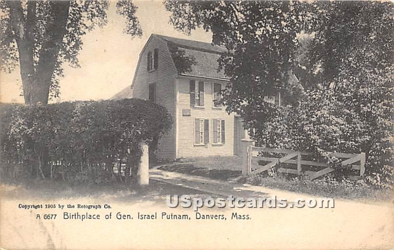 Birthplace of Gen Israel Putnam - Danvers, Massachusetts MA Postcard