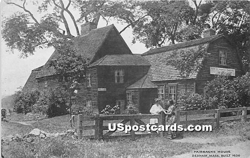 Fairbanks House Built 1636 - Dedham, Massachusetts MA Postcard