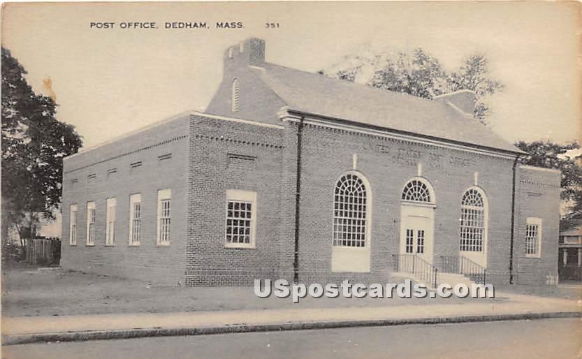 Post Office - Dedham, Massachusetts MA Postcard
