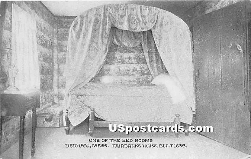 One of the Bed Rooms at Fairbanks House Built 1636 - Dedham, Massachusetts MA Postcard