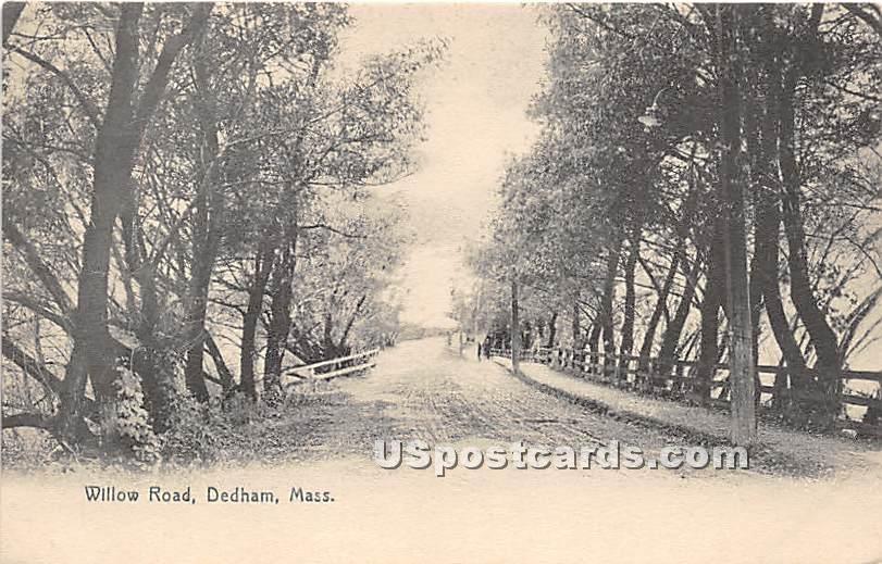 Willow Road - Dedham, Massachusetts MA Postcard