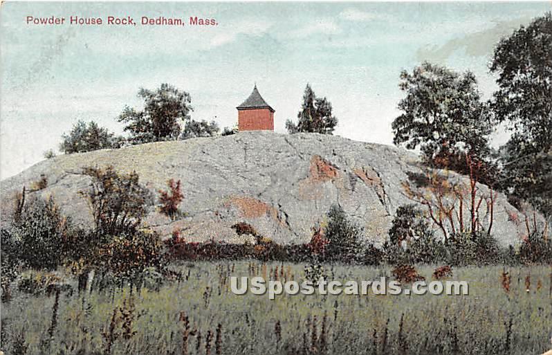 Powder House Rock - Dedham, Massachusetts MA Postcard