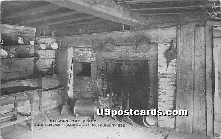 Kitchen Fire Place in Fairbanks House Built 1636 - Dedham, Massachusetts MA Postcard