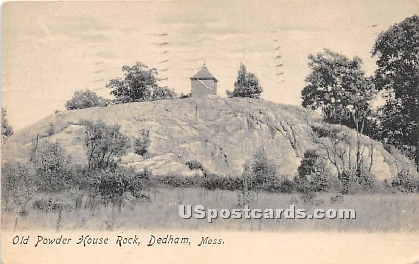 Old Powder House Rock - Dedham, Massachusetts MA Postcard