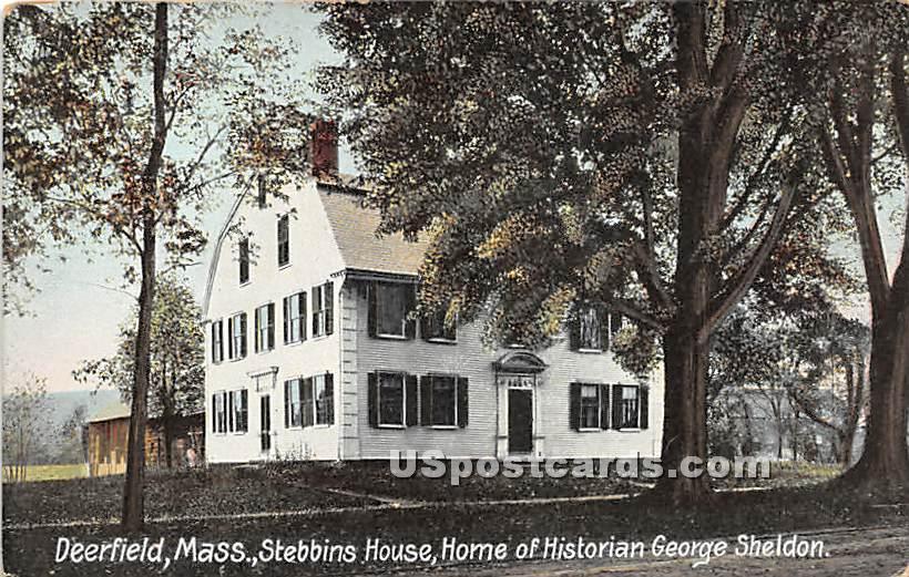 Stebbins House, Home of the Historian George Sheldon - Deerfield, Massachusetts MA Postcard