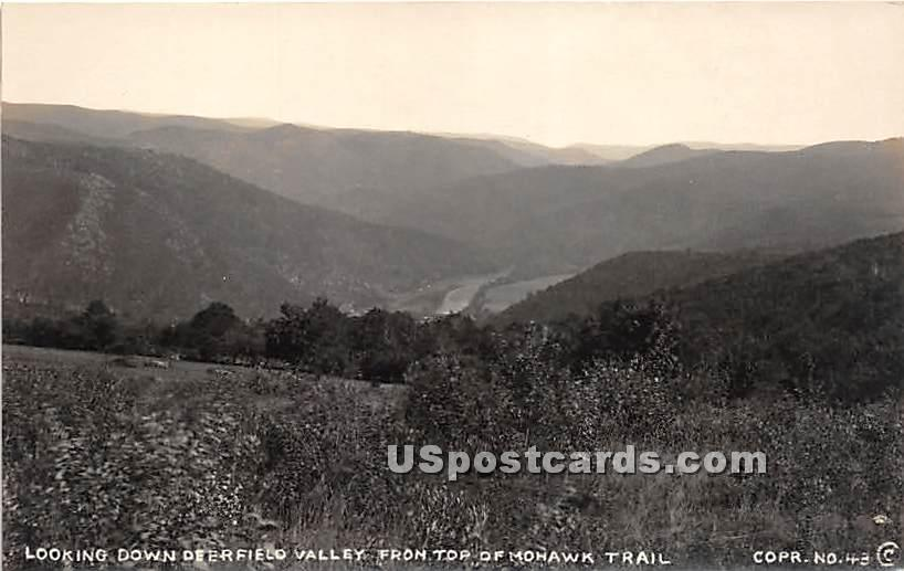 Looking down Deerfield Valley from Top of Mohawk Trail - Massachusetts MA Postcard