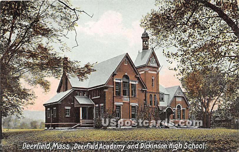 Deerfield Academy & Dickinson High School - Massachusetts MA Postcard