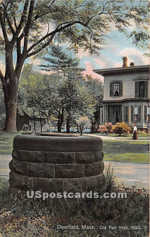 Old Fort Well 1690 - Deerfield, Massachusetts MA Postcard