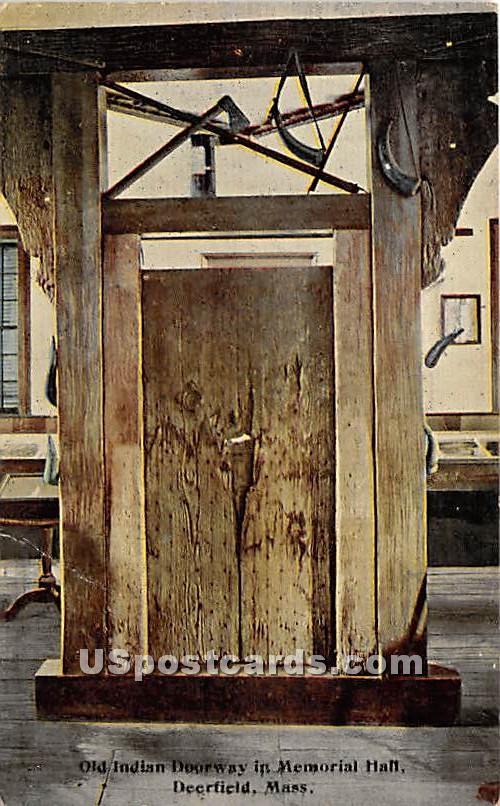 Old Indian Doorway in Memorial Hall - Deerfield, Massachusetts MA Postcard