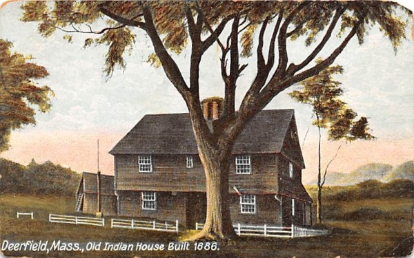 Old Indian House Deerfield, Massachusetts Postcard