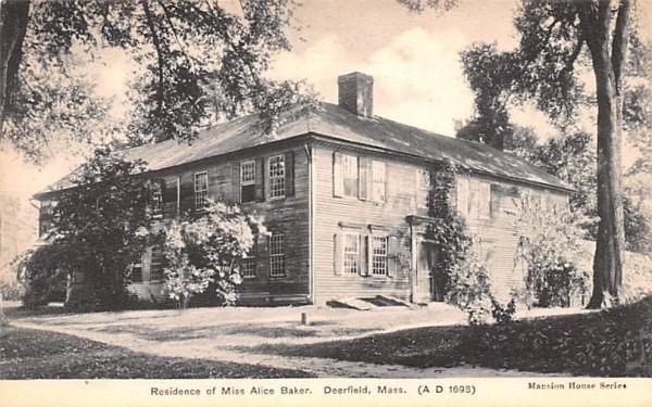 Residence of Miss Alice Baker Deerfield, Massachusetts Postcard