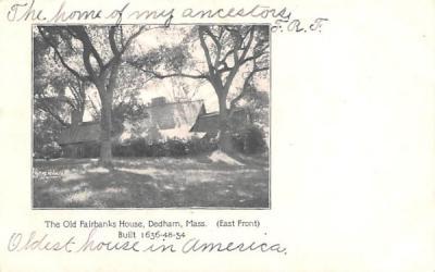 The Old Fairbanks House Dedham, Massachusetts Postcard