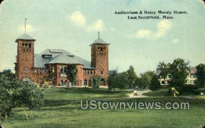 Auditorium & Betsy Moody House - East Northfield, Massachusetts MA Postcard