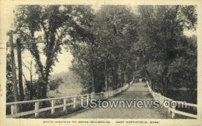 State Highway, White Mountains - East Northfield, Massachusetts MA Postcard