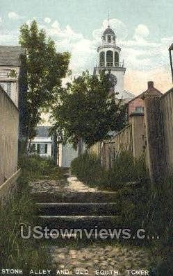 Stone Alley & Old South Tower - Misc, Massachusetts MA Postcard
