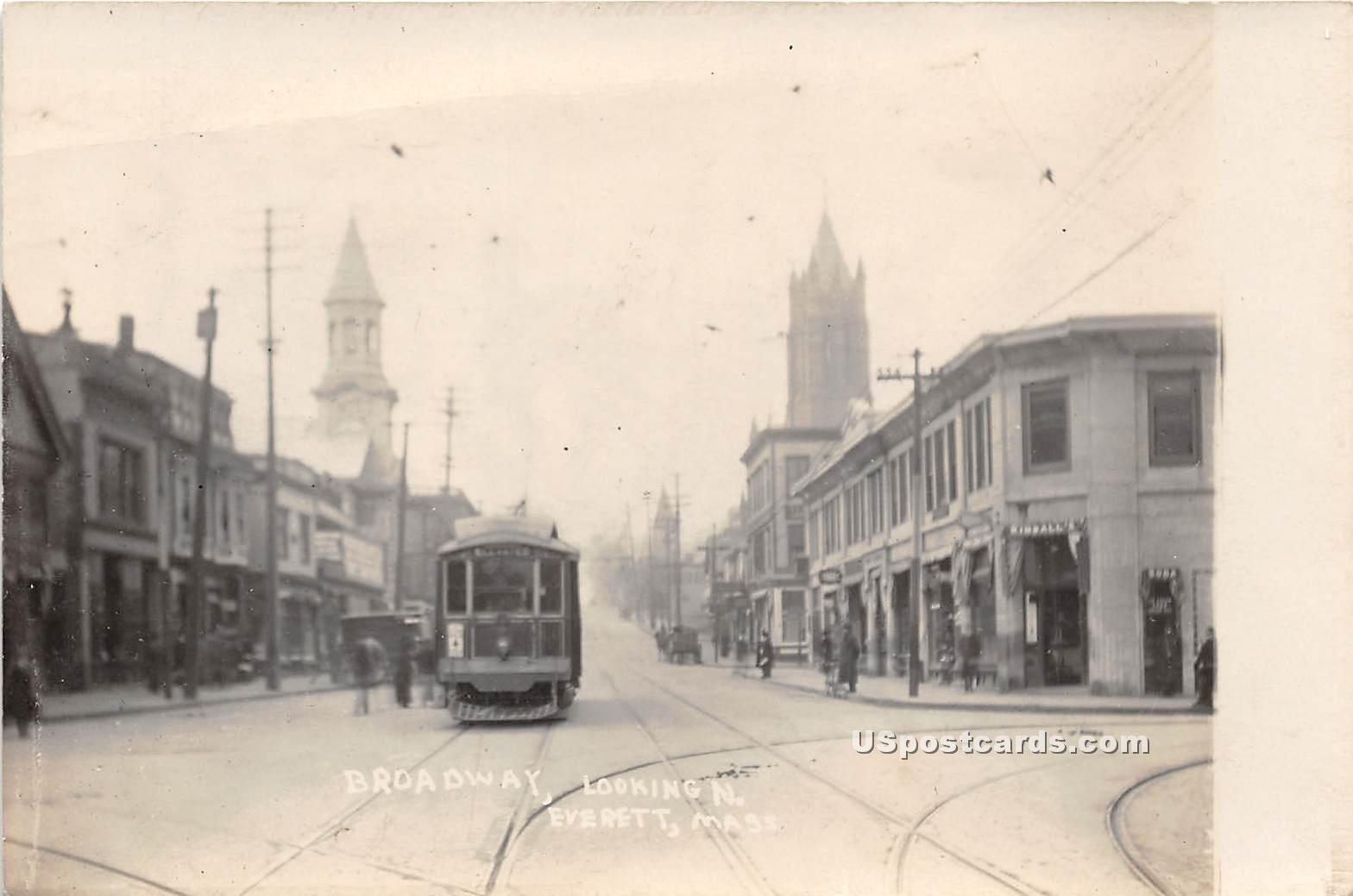 Broadway - Everett, Massachusetts MA Postcard