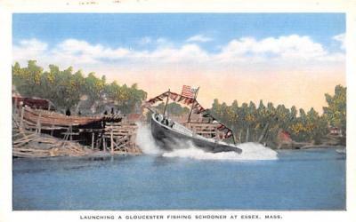 Launching a Gloucester Fishing Schooner  Essex, Massachusetts Postcard