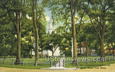 Green & Congregational Church - Falmouth, Massachusetts MA Postcard