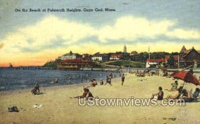 Beach, Falmouth Heights - Massachusetts MA Postcard