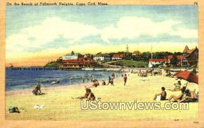On the Beach, Falmouth Heights - Massachusetts MA Postcard