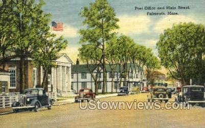 Post Office & Main St. - Falmouth, Massachusetts MA Postcard
