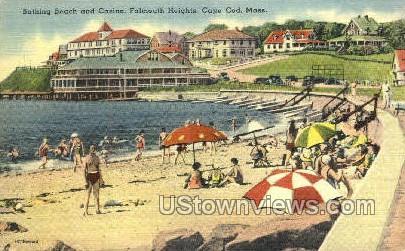 Bathing Beach & Casino - Falmouth, Massachusetts MA Postcard