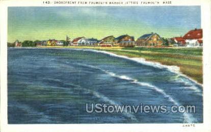 Shorefront, Falmouth Harbor Jetties - Massachusetts MA Postcard