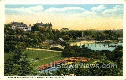 Summer Residences & Gardens - Falmouth, Massachusetts MA Postcard