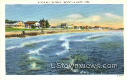 Beach & Cottages - Falmouth, Massachusetts MA Postcard