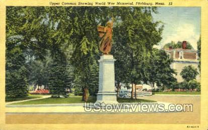 World War memorial - Fitchburg, Massachusetts MA Postcard
