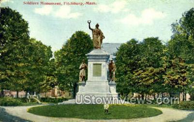Soldiers Monument - Fitchburg, Massachusetts MA Postcard
