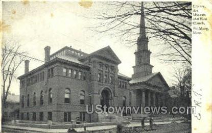 Art Museum, & First Church - Fitchburg, Massachusetts MA Postcard