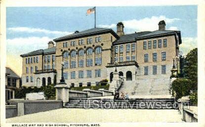 Wallace Way & High School - Fitchburg, Massachusetts MA Postcard